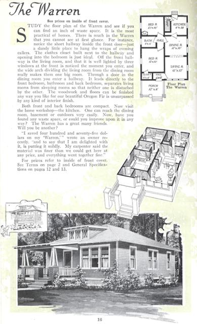 Aladdin Warren model with floor plan 1919 catalog