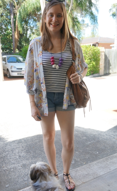 Somedays Lovin' Yakuza print kimono print mixing stripe tank denim shorts summer | AwayFromBlue