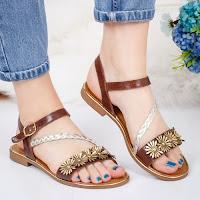 Sandale cu talpa joasa dama piele naturala maro Darifa