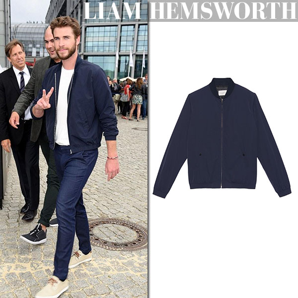 Liam Hemsworth in blue sandro birdie bomber jacket and blue pants celebrity men style