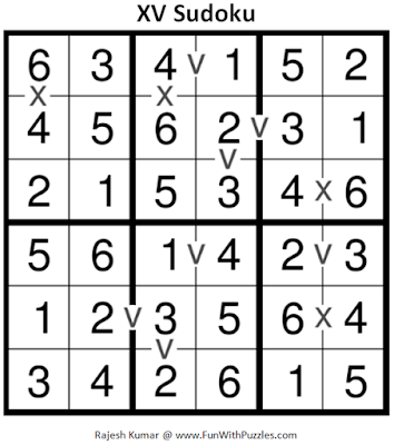 XV Sudoku (Mini Sudoku Series #64) Solution