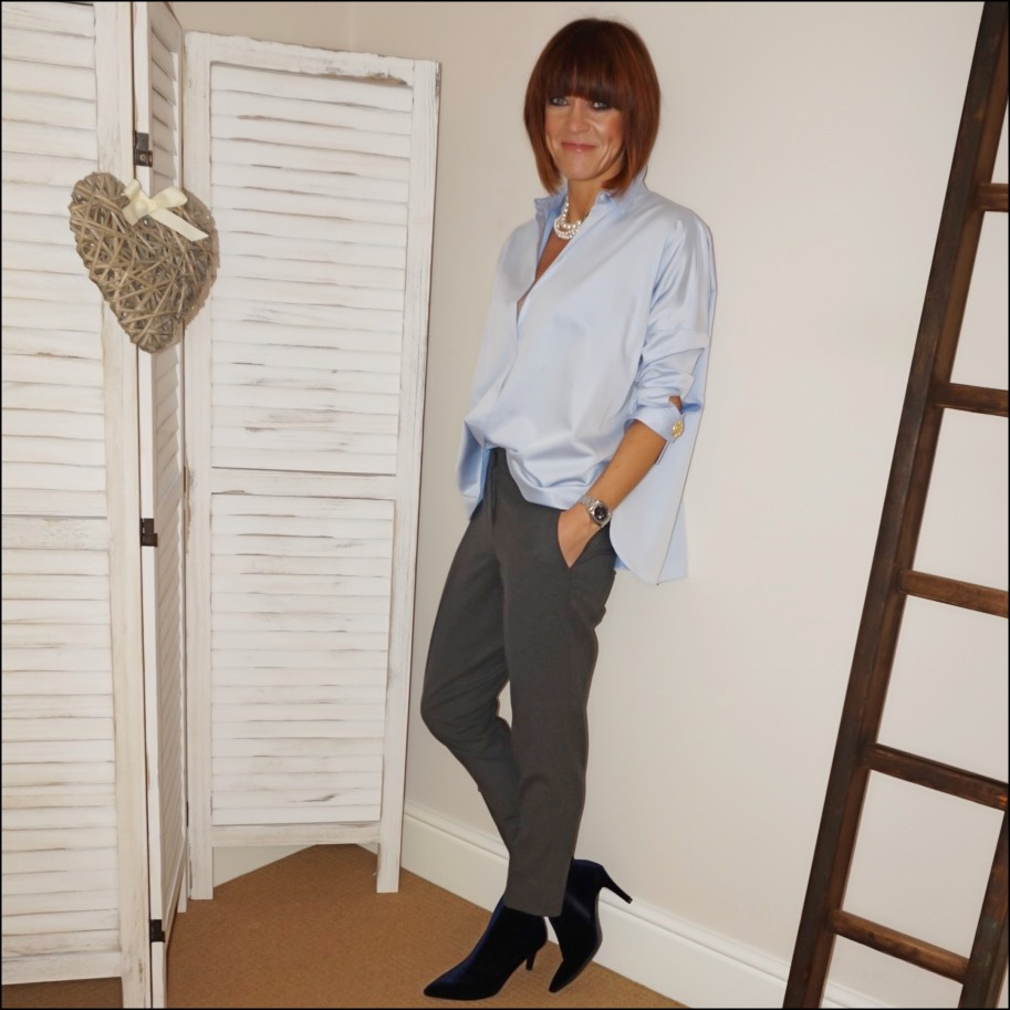 my midlife fashion, chanel vintage pearl necklace, uterque oversized shirt, the white company flannel trousers, marks and spencer velvet stilletto heel ankle boots