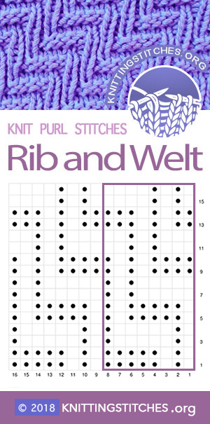 Rib and Welt Diagonal Stitch | Knit - Purl stitches #knitpurl