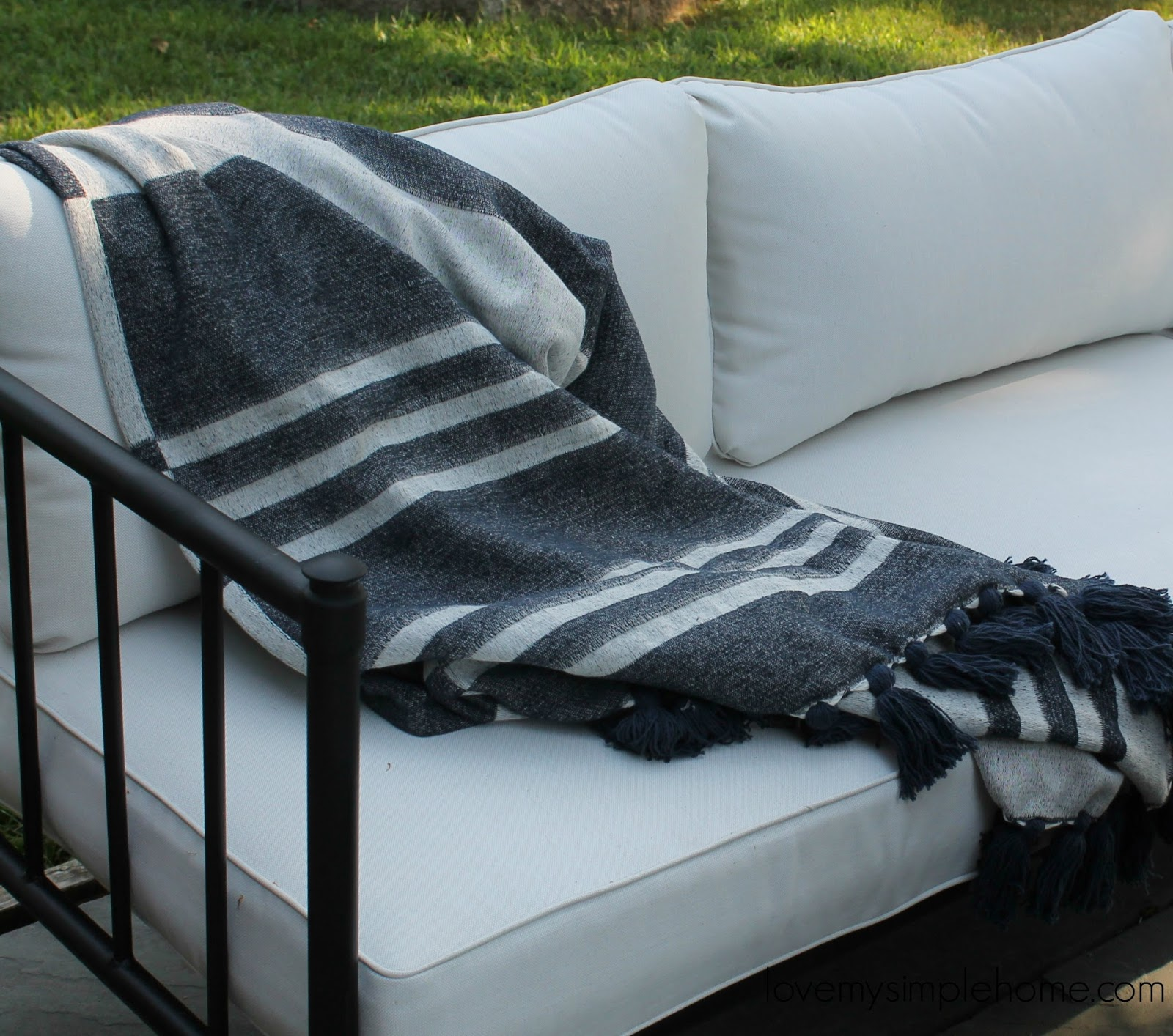 My New Patio Sofa decorated for early fall Love My Simple Home