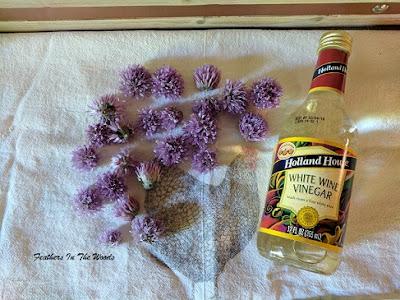 chive blossoms and white wine vinegar