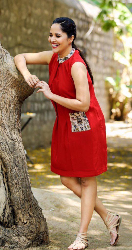 Actress Anasuya Latest Red Dress Hot Stills
