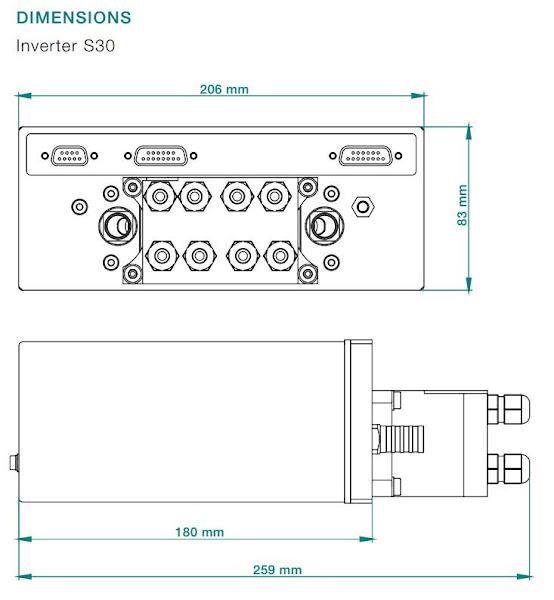 Габаритные размеры автомобильного силового трехфазного инвертора S30