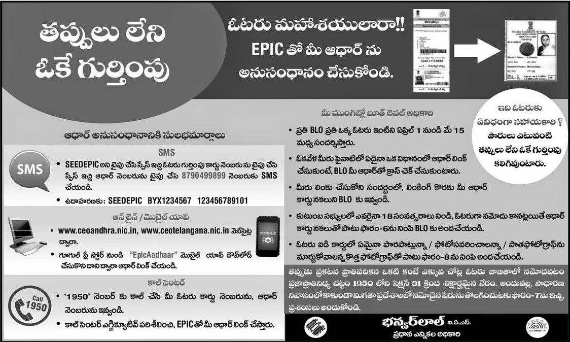 Aadhaar Linkage with your Voter card