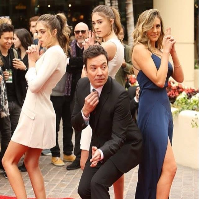 Sylvester Stallone wonderful daughters getting ready for the Golden Globes Sunday night!