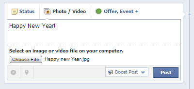 Facebook status update Happy New Year