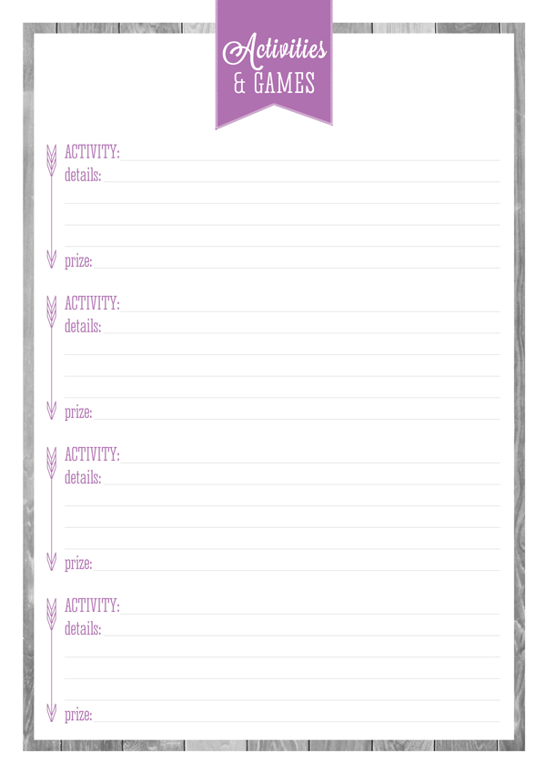 Free Printable Party & Entertaining Planners Part Two by Eliza Ellis. Includes Quick Party Planner, Guest List, Gift List, Party Food, Party Catering Amounts Reference Sheet, Dinner Party Planner, Bring A Plate Planner, Entertaining Checklist, Party Activities and Games, Party Shopping List and Party To-Do List. Hope you enjoy them!
