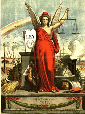 Dibujo alegórico del triunfo de la República publicado en 1873
