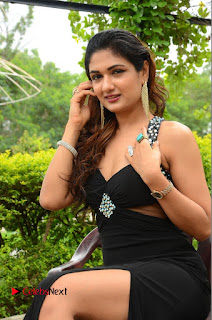 Actress Esha Agarwal  Pictures in Black Long Dress at at Lovers Park Movie Opening  0169.JPG