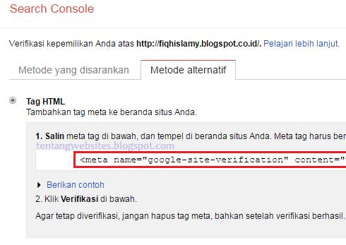 Cara verifikasi situs di google search consol