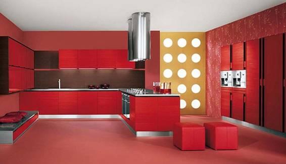 Cocinas modernas color rojo italianas colores en casa for Casa minimalista rojo