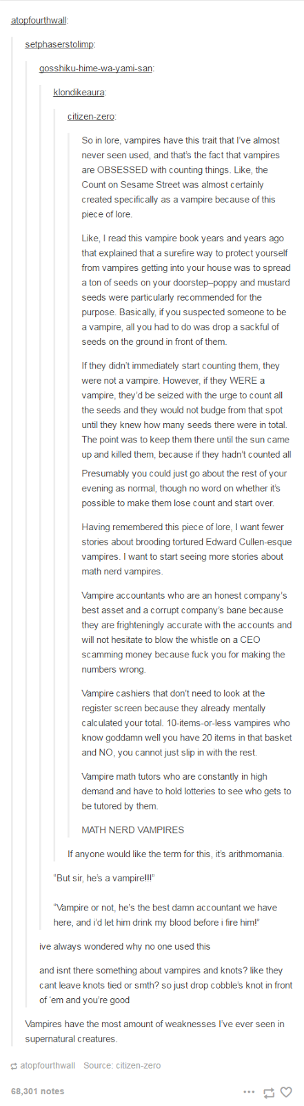 Vampires with arithomania as a character flaw