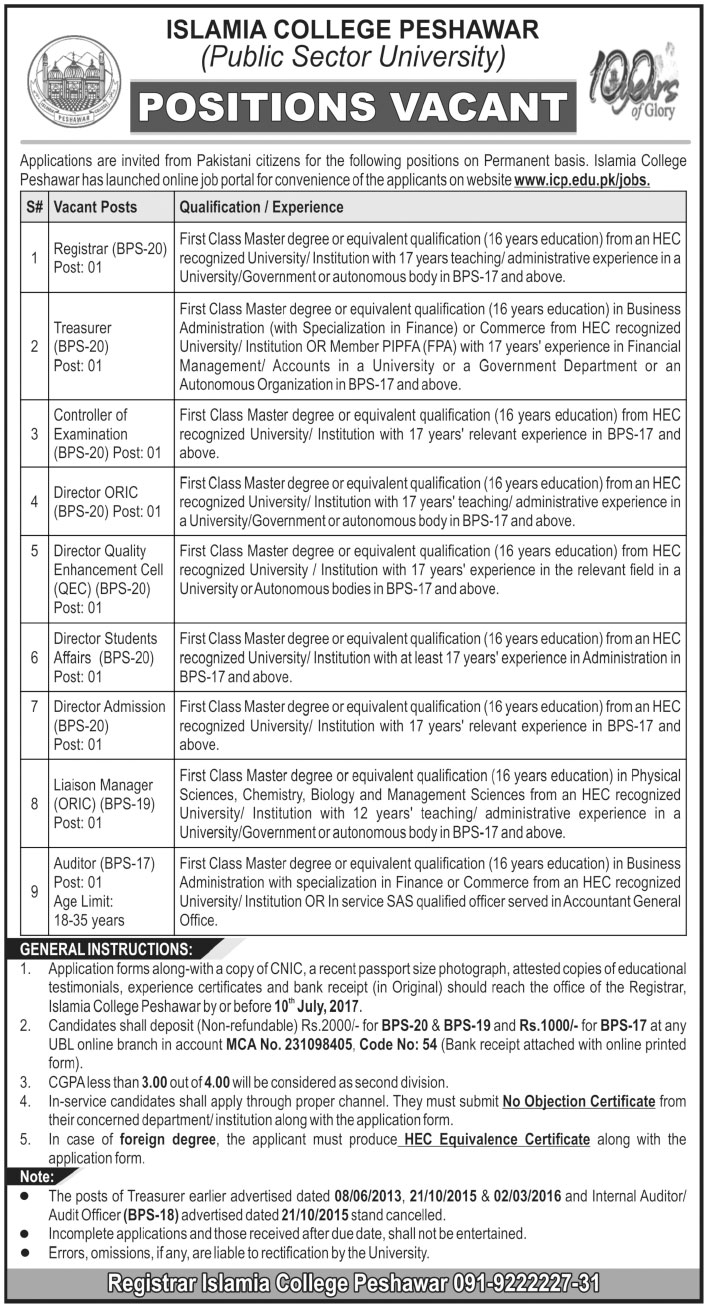 ICP Jobs In Islamia College Peshawar 12 Jun 2017