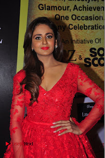 Actress Model Parul Yadav Stills in Red Long Dress at South Scope Lifestyle Awards 2016 Red Carpet  0071.JPG