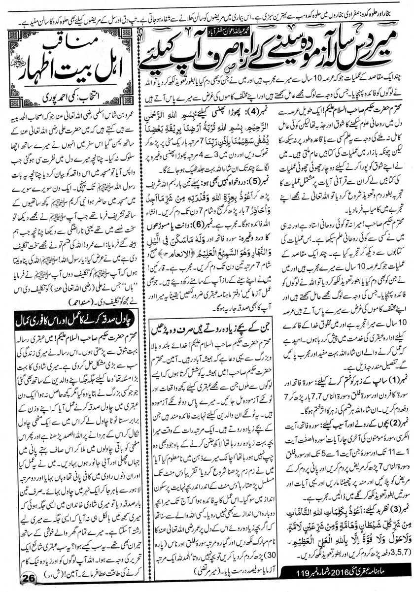 Mera 10 Sala Seena Ka Raaz Ubqari Mag May 2016