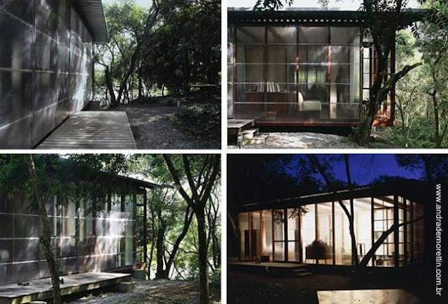 Casa cabaña con paredes translúcidas y transparentes