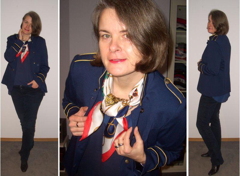 Military Band Jacket im Marinestyle kombiniert