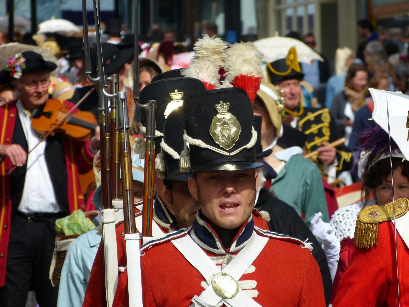 Soldiers in the Jane Austen Regency Promenade