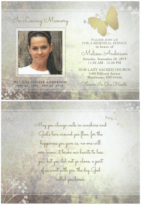 golden butterfly silver gold floral memorial invitation card front and back