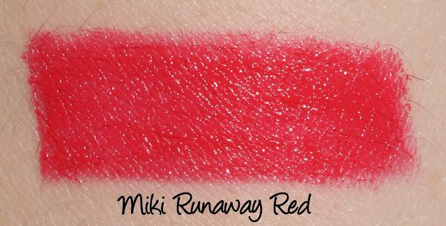 Miki Runaway Red lipstick swatch
