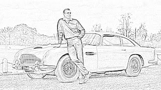 James Bond and cars coloring pages jamesbondreview.filminspector.com