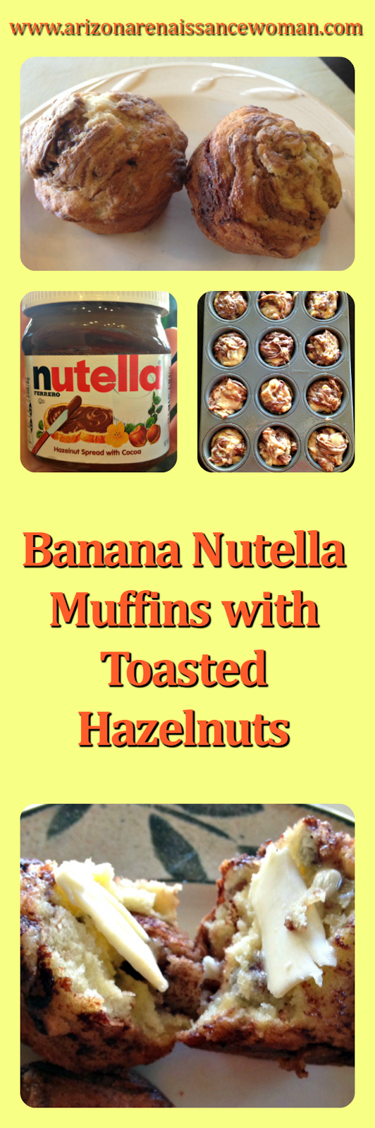 Banana Nutella Muffins with Toasted Hazelnuts Collage