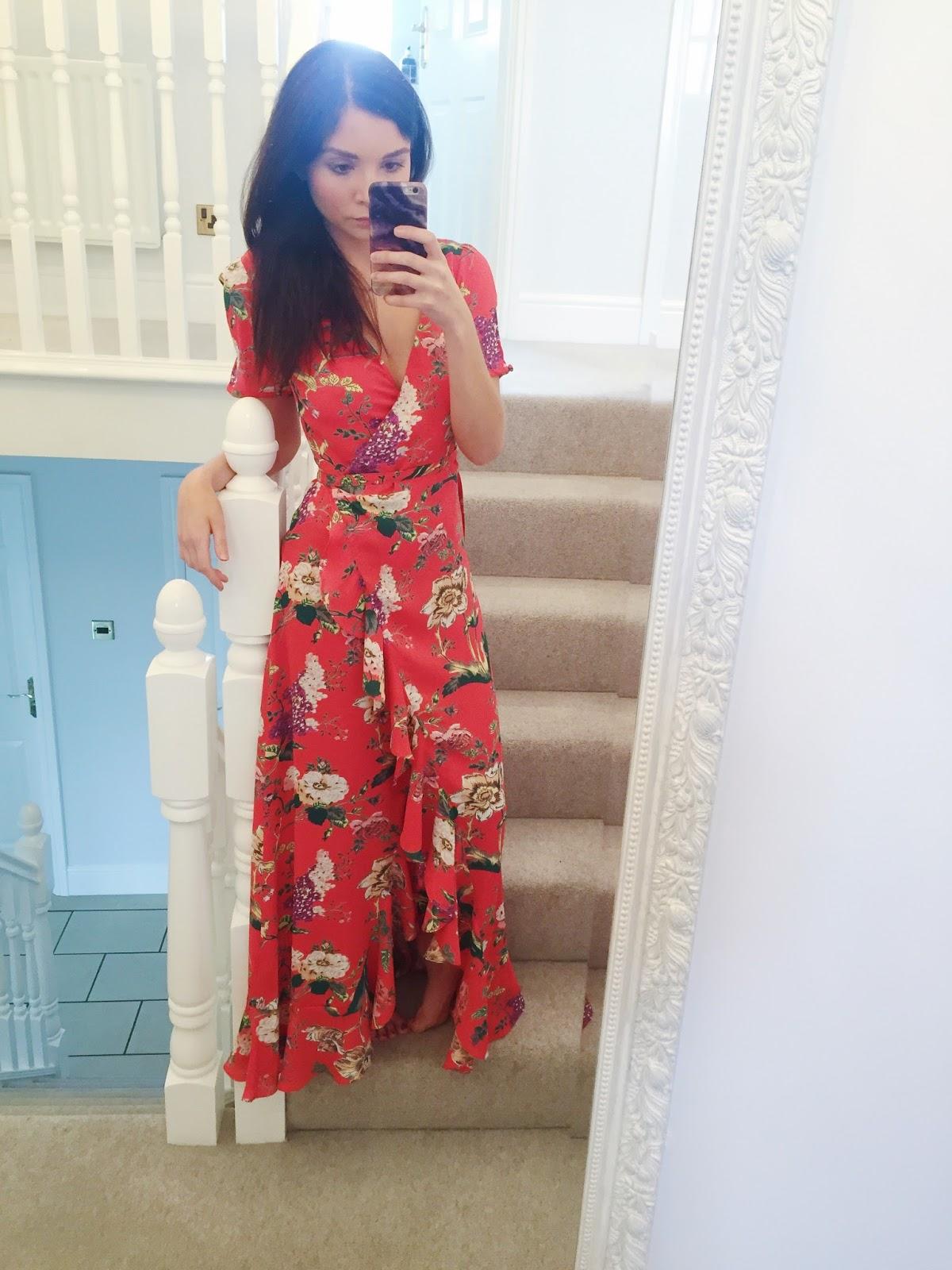 Oriental print maxi tea dress