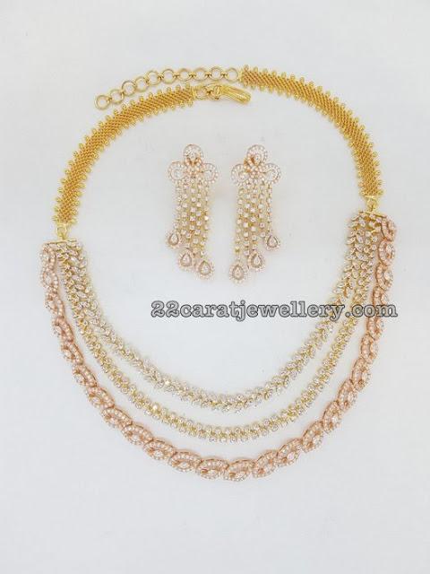 Three Rows Diamond Choker with Hangings