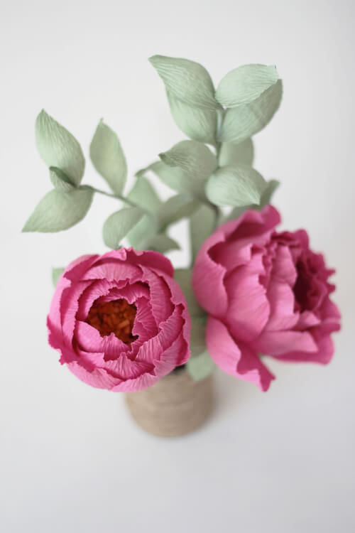 pair of deep pink crepe paper peonies
