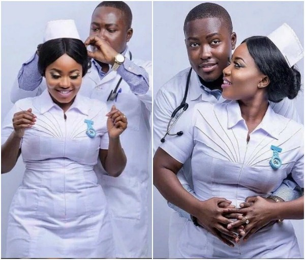 Cute pre-wedding photos of a curvy nurse and her doctor fiancé