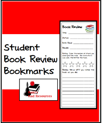 Free student book review bookmarks to help students easily critique books - from Raki's Rad Resources.