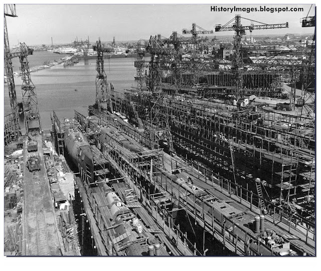 The German U-Boat building yard at Bremen after it was occupied by the Allies. May 5, 1945. In the background from left to right in the center - U-3060 and U-3062, in the foreground from left to right - U-3061 and U-3063