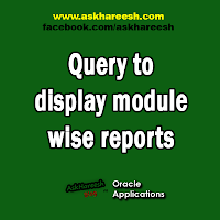 Query to display module wise reports, www.askhareesh.com