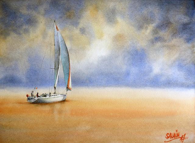 Aquarelle, marine, Corse, voilier