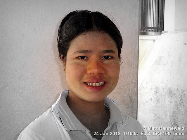 Burma, Myanmar, Bagan, Burmese woman, people, street portrait, headshot, focal black and white, thanaka face cosmetic