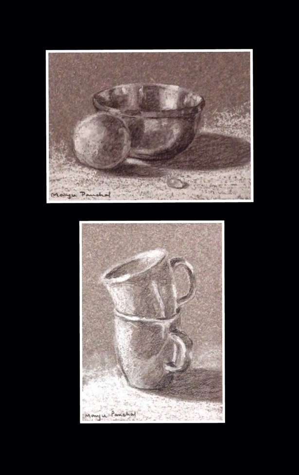 Two charcoal sketchings using general charcoal pencil by Manju Panchal