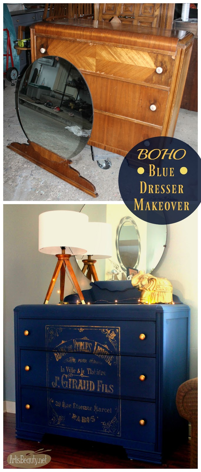 Painted Vintage Waterfal Dresser With Round Mirror Indigo Cobalt Blue Gold French Strencil Graphic