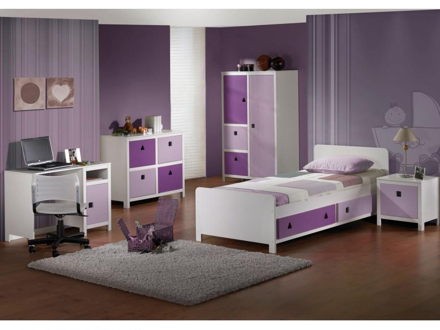 Dormitorios para chicas en color morado dormitorios for Color de pared para muebles blancos