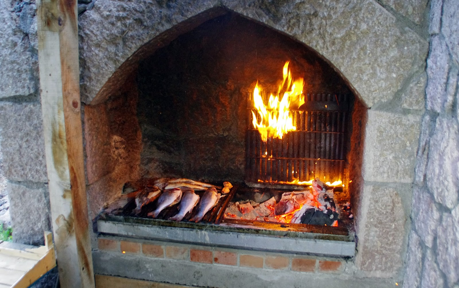 Seafood cooked in fire at restaurant in Assos Turkey