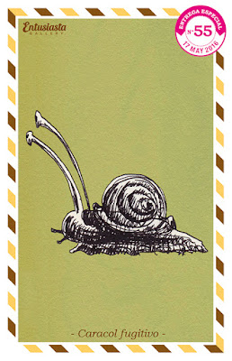 Caracol escapando de una caracolada ilustrado por Jésica Cichero