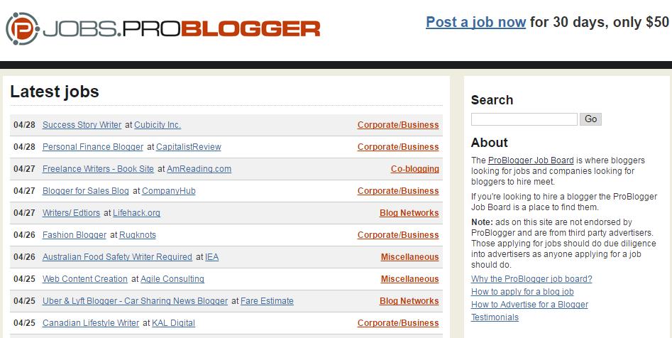 Pro blogger jobs