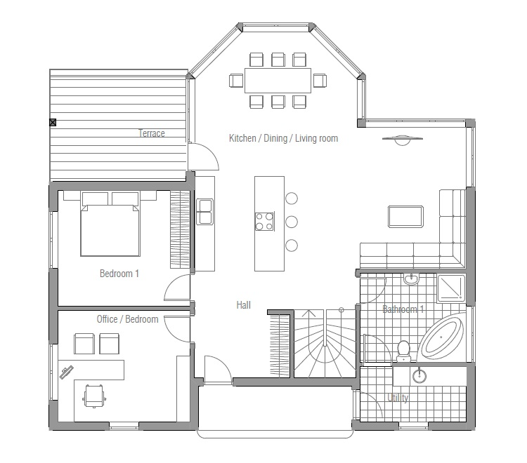 Affordable Home Plans: Classical Affordable House Plan CH90