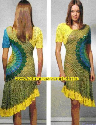 vestido crochet tejido a base de círculo