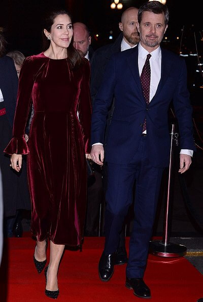 Crown Princess Mary wore a cherry wine colour tailored velvet midi dress by Beulah London, and Pura Lopez Kameron evening heeled pumps