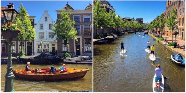 Barco y SUP en canal en Leiden