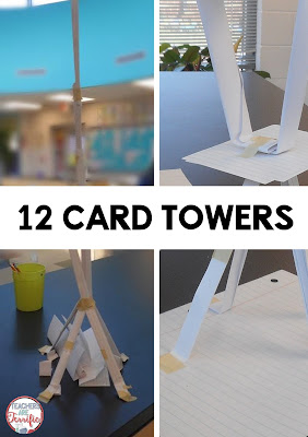 STEM Challenge: This challenge uses index cards- any size you want and each group gets only 12. This is an amazing and simple challenge and would be perfect at the beginning of your school year- without breaking your budget!
